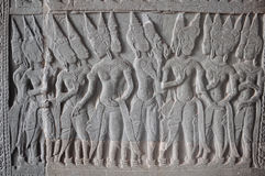 Деталь каменного резного изображения (Apsaras) в Angkor Wat Стоковая Фотография RF