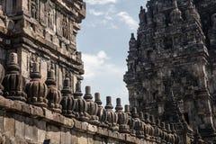 Деталь каменной кладки на виске Prambanan индусском стоковое фото