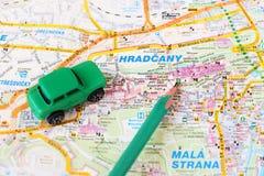 Деталь карты Праги - замок Праги Стоковое фото RF