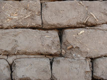 Деталь кирпичей грязи и соломы Стоковое Изображение