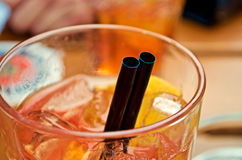 Деталь коктеиля и соломы Стоковые Изображения RF