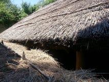 Деталь крыши соломы (соломы) к сельскому дому, музею деревни, Бухаресту стоковые фотографии rf