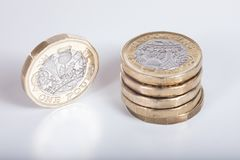 Деталь новой монетки английского фунта Стоковое Фото