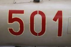 Деталь номера на воздушных судн MIG 21 номера ` ` 501 в русском стиле Стоковое фото RF