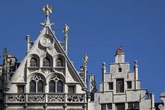 Деталь домов гильдии, Антверпен, Бельгия Стоковая Фотография RF