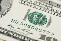 Деталь долларовой банкноты американца 100 Стоковое Изображение RF