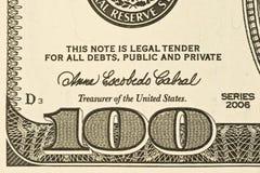 Деталь долларовой банкноты США 100 Стоковая Фотография