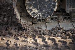 Деталь пакостной проступи землекопа или бульдозера Стоковые Фото