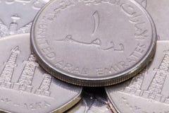 Деталь различных монеток дирхамов Объединенных эмиратов Стоковые Изображения RF