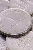 Деталь различных монеток дирхамов Объединенных эмиратов Стоковое Изображение RF