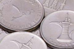 Деталь различных монеток дирхамов Объединенных эмиратов Стоковая Фотография