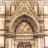 Деталь собора Santa Croce в Флоренсе в тоне sepia Стоковые Изображения