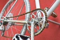 Деталь старого велосипеда дороги - crankset, педали Стоковые Фото