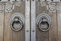Деталь старой деревянной двери Стоковые Фото