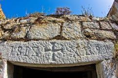 Деталь старых греческих домов сделанных камня на острове Thassos Стоковое Фото