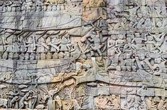 Деталь стены, Angkor, Камбоджа Стоковая Фотография RF