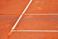 Деталь суда глины тенниса боковой линии Стоковые Изображения RF