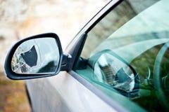 Деталь сломанного заднего зеркала автомобиля Стоковые Фото