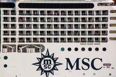Деталь туристического судна MSC двигая через канал Сан Marco в Veni стоковые фото