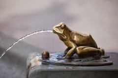 Деталь фонтана скульптуры лягушки лить Стоковая Фотография RF
