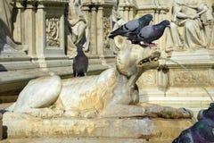 Деталь фонтана Gaia от Сиены, Италии Стоковые Изображения