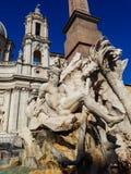 Деталь dei Quattro Fiumi Фонтаны на аркаде Navona в Риме стоковые изображения