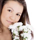 детеныши белой женщины цветка сексуальные Стоковое Фото