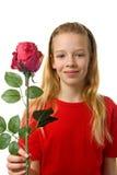 детеныши белокурого красного цвета девушки розовые silk Стоковое Изображение
