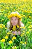 детеныши венка женщины одуванчиков милые Стоковые Фото