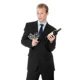 детеныши вина человека дела бутылки красивые Стоковая Фотография RF