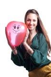 детеныши девушки воздушного шара счастливые красные белые Стоковая Фотография RF