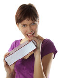 детеныши девушки книги укусов Стоковое фото RF