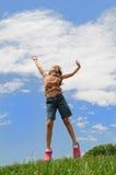 детеныши девушки скача Стоковые Фото