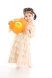 детеныши девушки цветка изолированные белые Стоковая Фотография