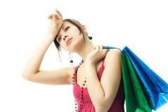 детеныши женщины брюнет ходя по магазинам утомленные Стоковые Фотографии RF