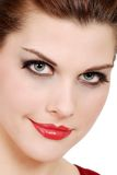 детеныши женщины губной помады красные стоковая фотография rf