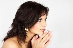 детеныши женщины кавказского портрета моля Стоковое Фото