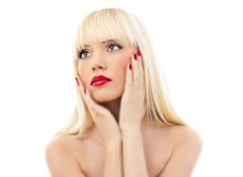 детеныши женщины красивейшего портрета губ красные Стоковое фото RF