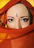 детеныши женщины красивейших глаз индийские традиционные Стоковая Фотография