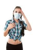 детеныши женщины мигрени аллергии больные Стоковое Изображение