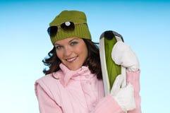 детеныши женщины одежд зеленые розовые нося Стоковые Фотографии RF