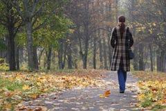 детеныши женщины парка гуляя Стоковое Изображение