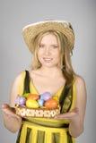 детеныши женщины пасхальныхя colourfull милые Стоковые Изображения