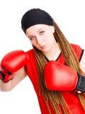 детеныши женщины перчаток самолет-истребителя бокса Стоковое Фото