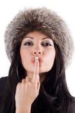 детеныши женщины портрета губ перста стоковые фотографии rf