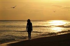 детеныши женщины прогулки захода солнца Стоковое Изображение