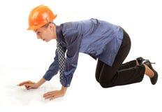 детеныши женщины руки инженера светокопий Стоковое Изображение