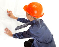 детеныши женщины руки инженера светокопий Стоковая Фотография