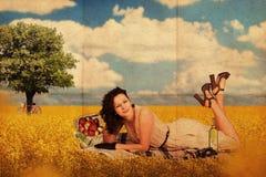 детеныши женщины сбора винограда коллажа красотки стоковая фотография