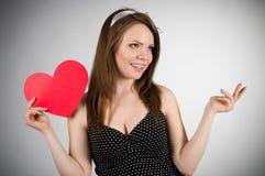 детеныши женщины сердца красные Стоковые Фото